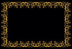 Baroque lines. Elaborate lines framed in symmetry on a black background. The golden arabesque can be used as a design for tiles or different covers Stock Image