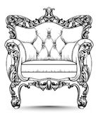 Baroque luxury armchair. Furniture with Victorian ornamented decor. Vector realistic designs. Baroque luxury armchair. Furniture with Victorian ornamented decor stock illustration