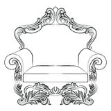 Baroque luxury style armchair furniture. Elegant upholstery with luxurious rich ornaments. French Luxury rich carved ornaments decoration. Vector Victorian Stock Photo