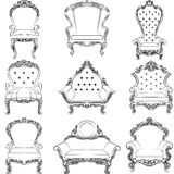 Baroque luxury style armchair furniture set. Collection. Upholstery with luxurious rich ornaments. French Luxury rich carved ornaments decoration. Vector Stock Image