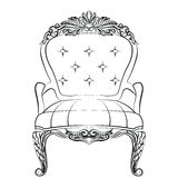 Baroque luxury style armchair furniture. Throne with luxurious rich ornaments. French Luxury rich carved ornaments decoration. Vector Victorian exquisite Style Royalty Free Stock Images