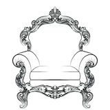 Baroque luxury style armchair furniture. Throne with luxurious rich ornaments. French Luxury rich carved ornaments decoration. Vector Victorian exquisite Style Royalty Free Stock Photo