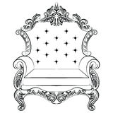 Baroque luxury style armchair furniture. Throne with luxurious rich ornaments. French Luxury rich carved ornaments decoration. Vector Victorian exquisite Style Royalty Free Stock Photography
