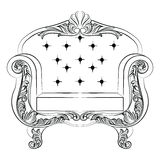 Baroque luxury style armchair furniture. Upholstery with luxurious rich ornaments. French Luxury rich carved decoration. Vector Victorian exquisite Style Stock Images