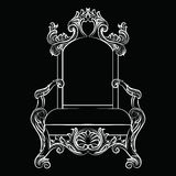 Baroque luxury style furniture. Chair throne with luxurious rich ornaments. French Luxury rich carved ornaments furniture. Vector Victorian exquisite Style Royalty Free Stock Images