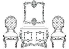 Baroque luxury style furniture dressing table and chairs set collection. Upholstery with luxurious rich ornaments Stock Images