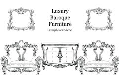 Baroque luxury style furniture set collection. Upholstery with luxurious rich ornaments. French   carved  decoration Stock Images