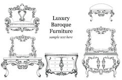 Baroque luxury style furniture set collection. Upholstery with luxurious rich ornaments. French carved decoration Stock Image