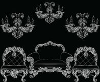 Baroque luxury style furniture set Royalty Free Stock Images