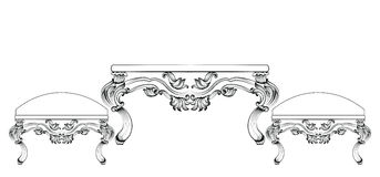 Baroque luxury style furniture table and chairs set collection. Upholstery with luxurious rich ornaments. French carved Stock Photography