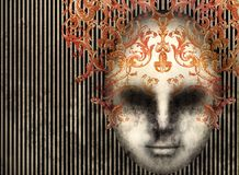 Baroque Mask on a black lines background Stock Photo