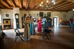 Baroque music in the castle. History castel Orava. Old room with a table where the castle lord wrote down the papers stock photo