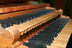 Baroque organ. The keyboard of the baroque organ Royalty Free Stock Images