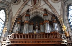 Baroque organ. Historical baroque organ in the church Royalty Free Stock Image