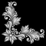 Baroque ornamental antique gold element on black Royalty Free Stock Photo