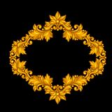 Baroque ornamental antique gold frame on black Royalty Free Stock Images