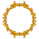 Baroque ornamental antique gold frame on white Royalty Free Stock Images