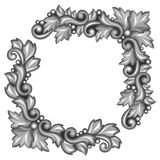 Baroque ornamental antique silver element on white Stock Photos