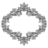 Baroque ornamental antique silver frame on white Royalty Free Stock Image