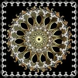 Baroque ornamental vintage round mandala pattern. Floral elegance ornament in Victorian style. Square baroque frame. Scroll leaves royalty free illustration