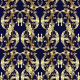 Baroque ornaments with gold paisley flowers. Floral vintage seamless pattern. Paisley background. Ornamental paisley flowers with gold 3d scroll leaves and Royalty Free Stock Photography