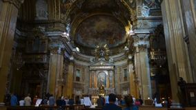 Baroque paintings on the ceiling of the Church of the Gesu. ROME, ITALY - MAY 27, 2017: Baroque paintings on the ceiling of the Church of the Gesu, Triumph of stock footage