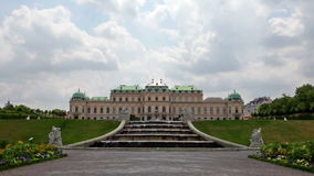 Baroque palace of Belvedere complex with fountain stock video footage