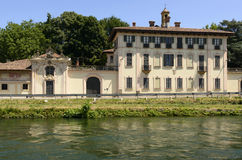 Baroque palace on canal, Cassinetta di Lugagnano Stock Photos
