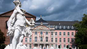 Baroque Palais in Trier, Germany. Kurfurstliches Palais in Trier. Left, the constantin basilica Royalty Free Stock Photos