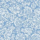 Baroque pattern with birds and flowers, blue Stock Images