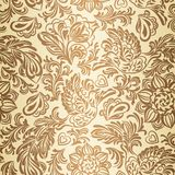 Baroque pattern with birds and flowers, gold Stock Images