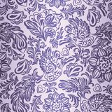 Baroque pattern with birds and flowers, purple Stock Image