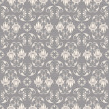 Baroque pattern. Seamless beige on grey baroque pattern vector illustration vector illustration