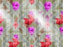 Baroque pattern with watercolor flowers Vector. Handmade luxury ornaments. Baroque pattern with watercolor flowers Vector. Handmade luxury ornament Royalty Free Stock Images
