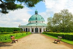 Baroque pavillon with a footpath and park benches Royalty Free Stock Photography