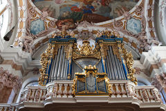 Baroque Pipe Organ in Innsbruck, Austria. Baroque Pipe Organ in St. Jakobs Dom (St. James Cathedral) in Innsbruck, Austria Royalty Free Stock Photos