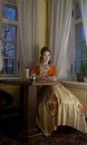 Baroque portrait. In cafe in medieval Tallinn Royalty Free Stock Photo