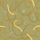 Baroque print with golden chains, golden heart, key, belts. Seamless Baroque vector pattern. vector illustration