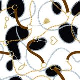 Baroque print with golden chains, golden heart, key, belts. Vector patch for print, fabric, scarf design stock illustration