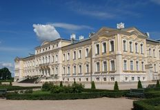 Baroque - Rococo style palace. Rundale Palace is one of the most outstanding monuments of Baroque and Rococo art in Latvia. It was built between 1736 and 1740 as Royalty Free Stock Photo