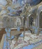 Baroque room 2. Baroque room with a golden chandelier Stock Image