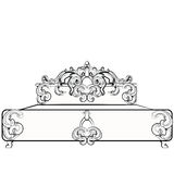 Baroque royal bed with damask ornaments royalty free illustration