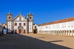 Baroque Sanctuary of Nossa Senhora do Cabo in Espichel Cape. View of the Church, and the Pilgrim lodgings. Sesimbra, Portugal Stock Photos