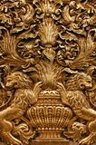 Gold baroque ornaments of the malta cathedral. Baroque sculpture of gold Lion exposed ina a malta cathedral Royalty Free Stock Photography
