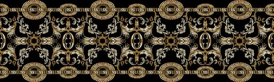 Baroque seamless border pattern. Black vector damask background. Wallpaper with vintage gold 3d flowers, scroll leaves, circle meanders and greek key ornaments Royalty Free Stock Photo