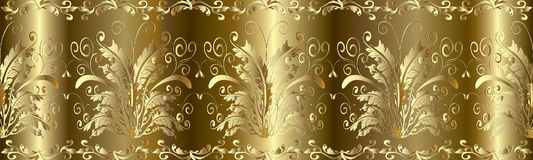 Gold 3d Baroque seamless border pattern. Baroque seamless border pattern. Floral damask gold background wallpaper with 3d gold butterflies, flowers, scroll Royalty Free Illustration