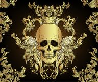 Free Baroque Seamless Ornament. Damask Style Pattern With Skull. Vintage Ornate Design For Wallpaper, Wrapper Stock Photo - 140638380