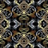 Baroque seamless pattern. Black vector damask background wallpaper with vintage gold silver flowers, scroll leaves, rhombus, mean. Der, greek key ornament royalty free illustration