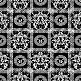 Baroque seamless pattern. Floral black background wallpaper with. White damask flowers, scroll leaves, circles, mandalas, frames, meander, greek key ornament royalty free illustration