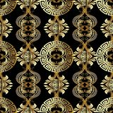 Baroque seamless pattern. Greek vector background. Vintage gold. 3d flowers, scroll leaves, meander, circles, greek key ornaments. Ornate beautiful texture stock illustration